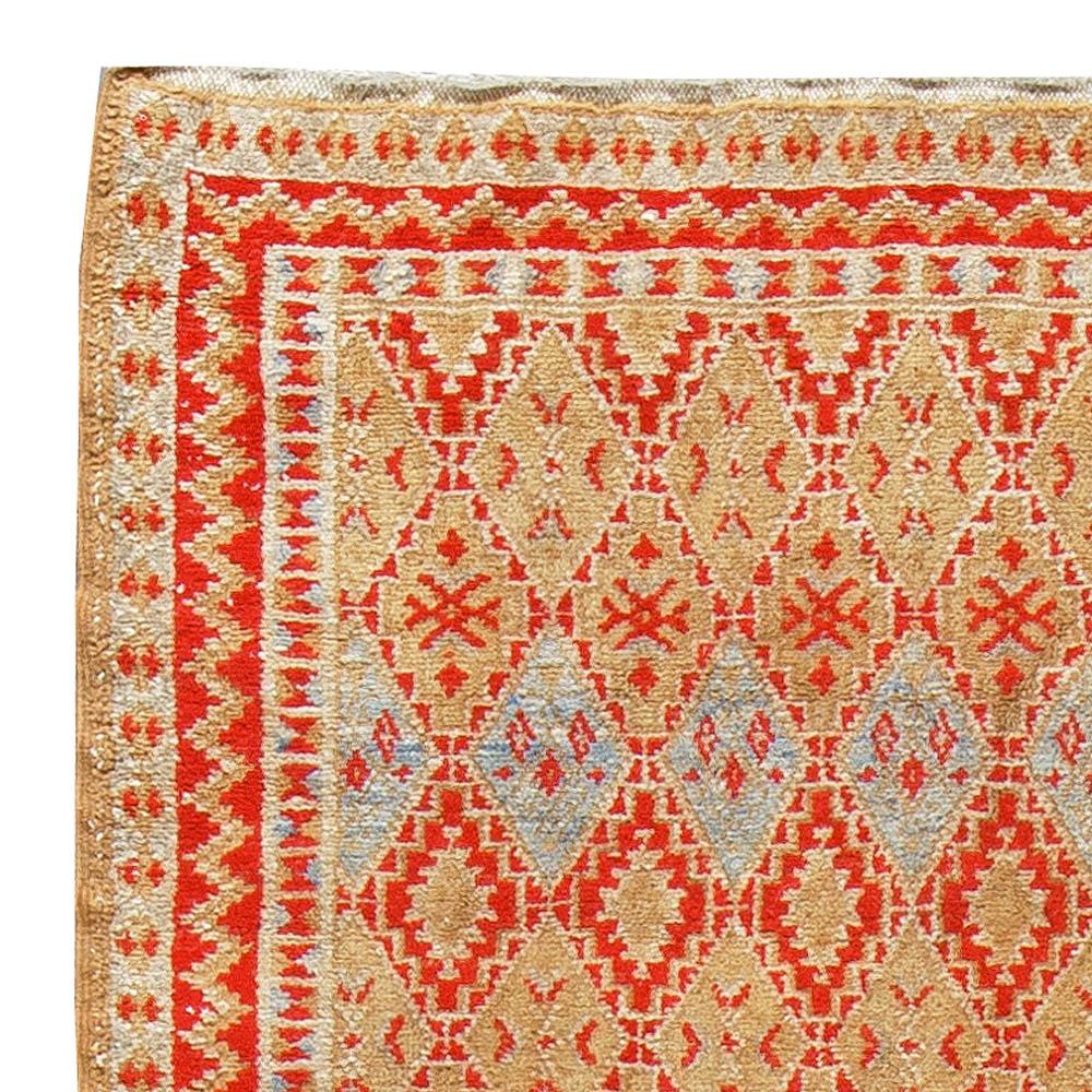 Midcentury Moroccan Orange, Beige and Blue Handwoven Wool Rug BB5404
