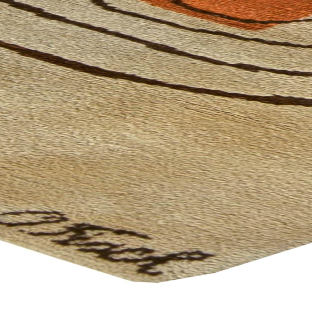 Beige, Brown and Orange Art Deco Rug Churos Signed by Olga Fisch BB5990