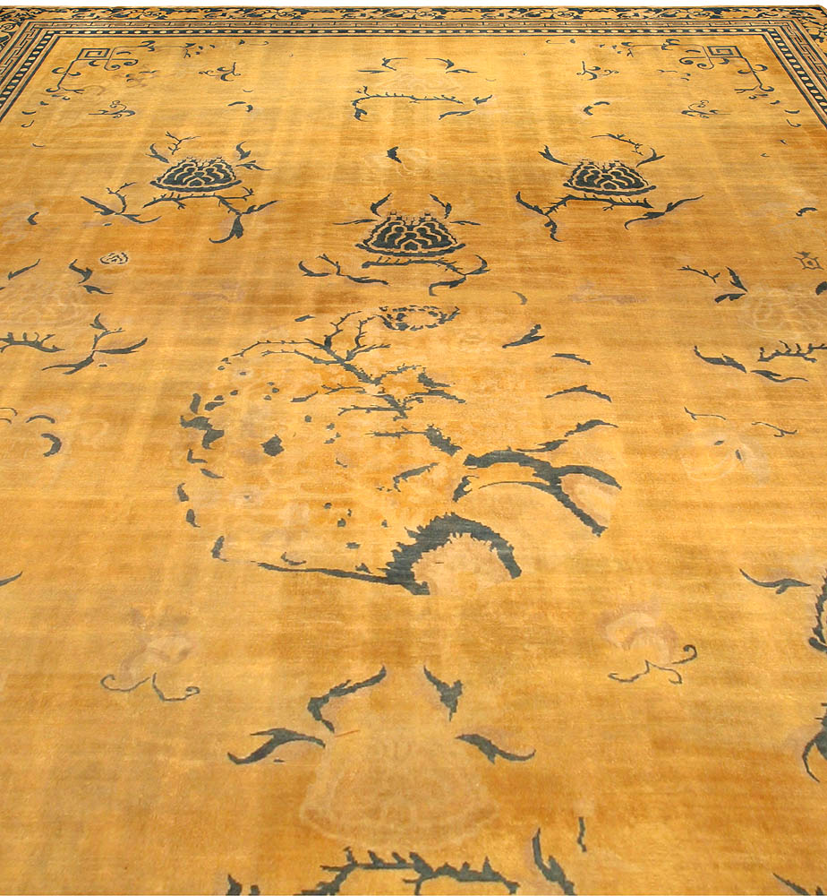 Antique Chinese Golden Yellow Handwoven Wool Rug BB3056