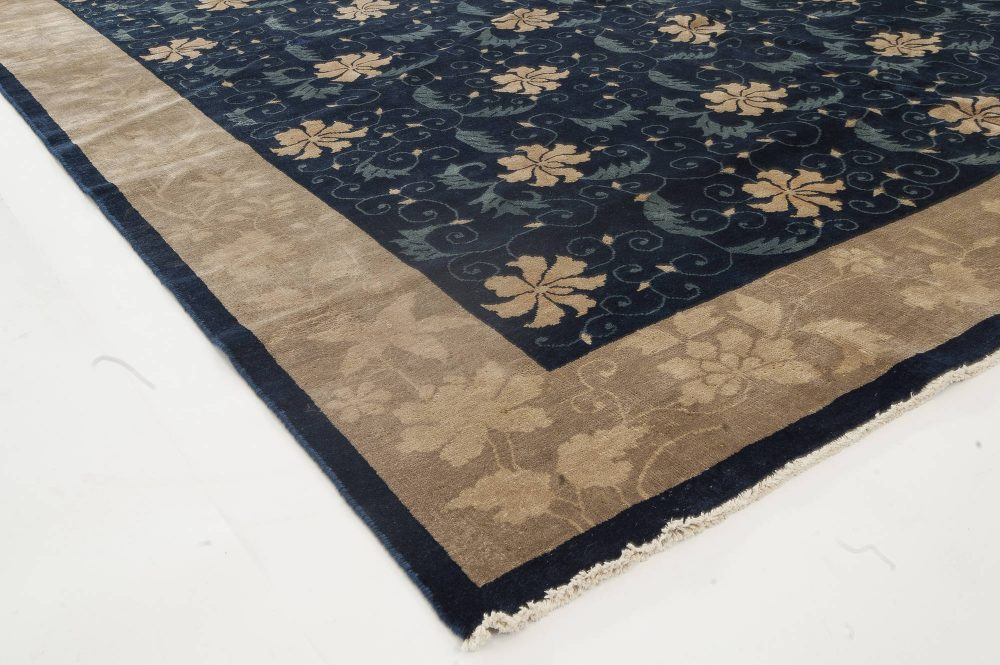 Vintage Chinese Beige and Navy Blue Handwoven Wool Carpet BB4090