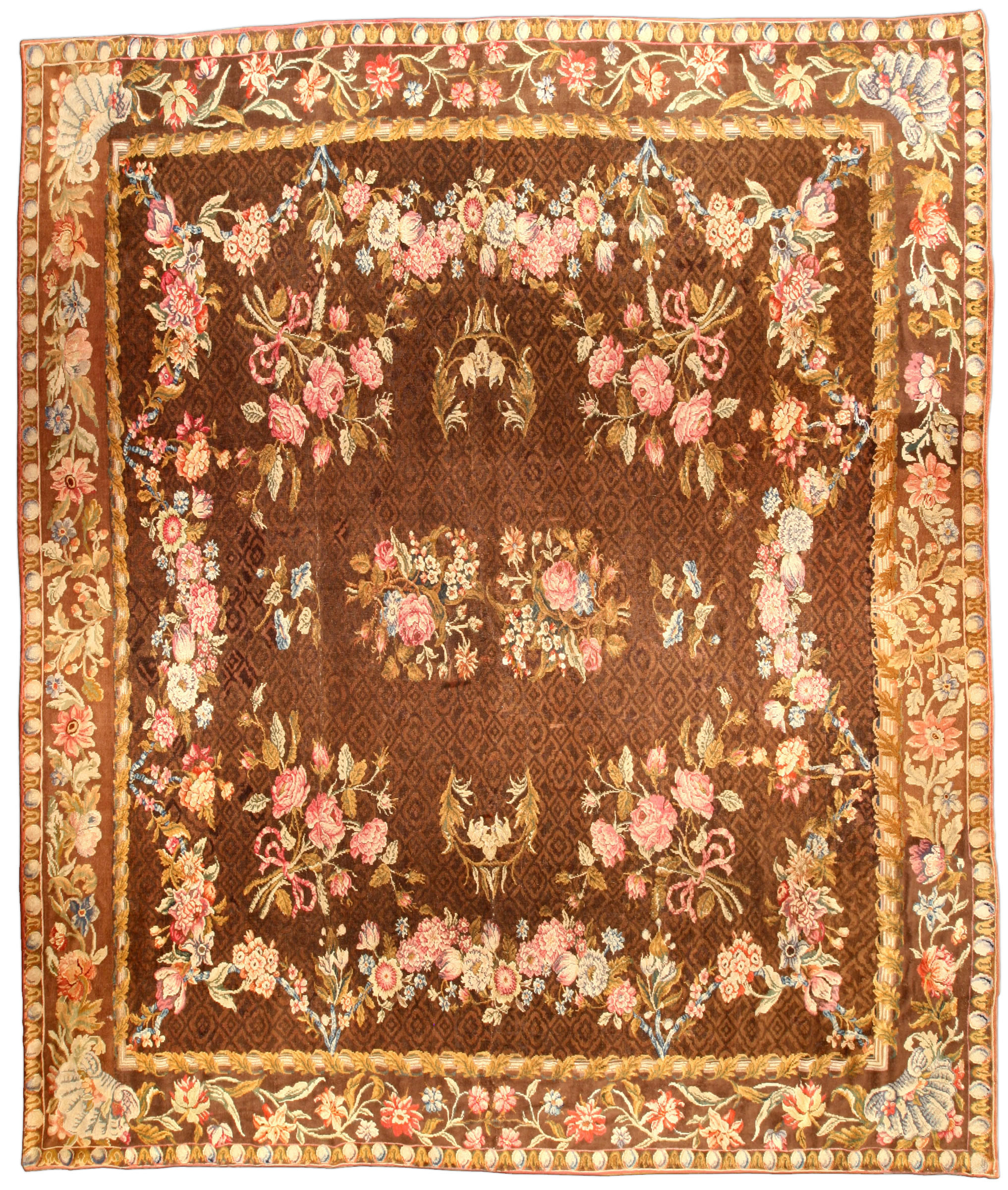 Antique English Axminster Rug Bb1203 By Dlb