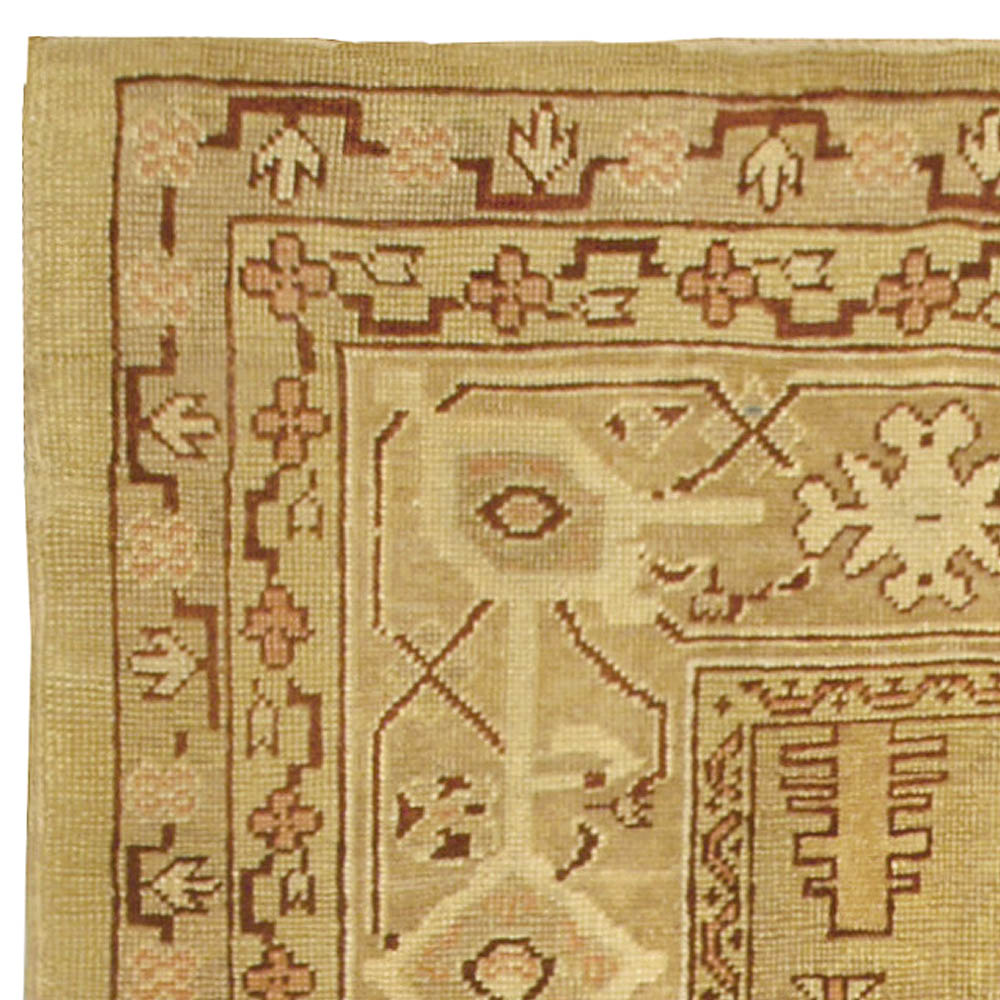 Antique Indian Amritsar Camel and Beige Handwoven Wool Rug BB5008