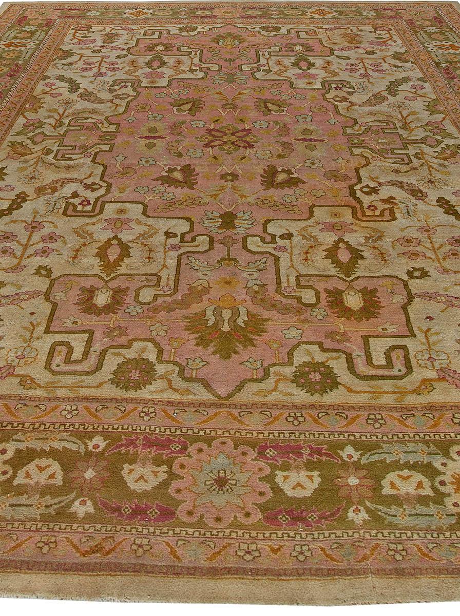 Antique Indian Amritsar Salmon Pink Rug BB5722