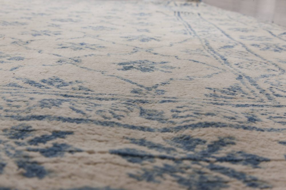 Antique Indian Cotton Agra White and Blue Rug BB6526