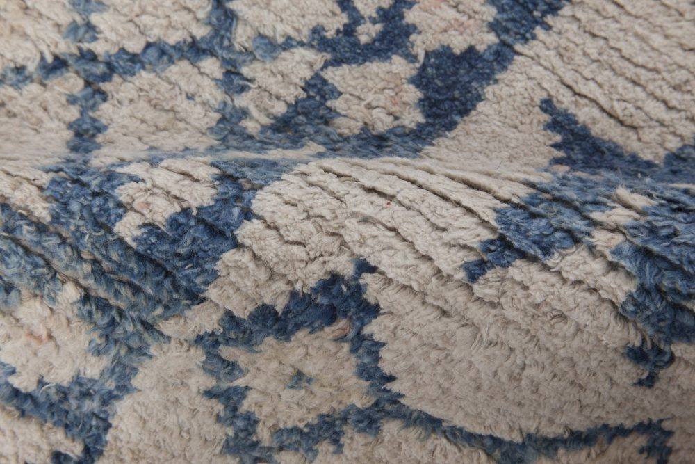 Antique Indian Cotton Agra Blue and White Rug BB6527