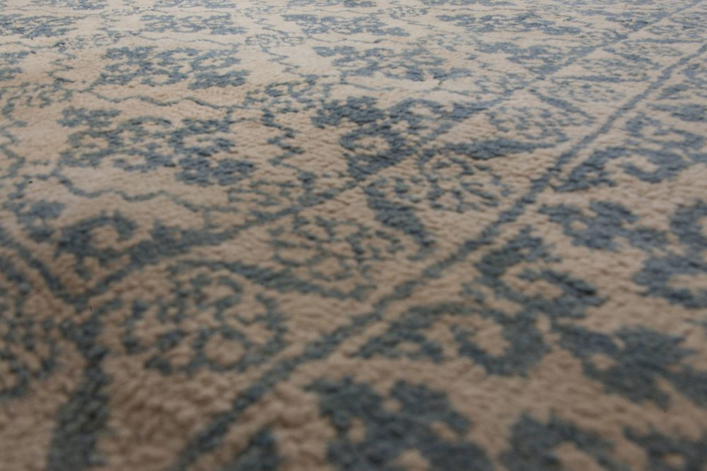 Antique Indian Agra Blue Hand Knotted Cotton Rug BB6523
