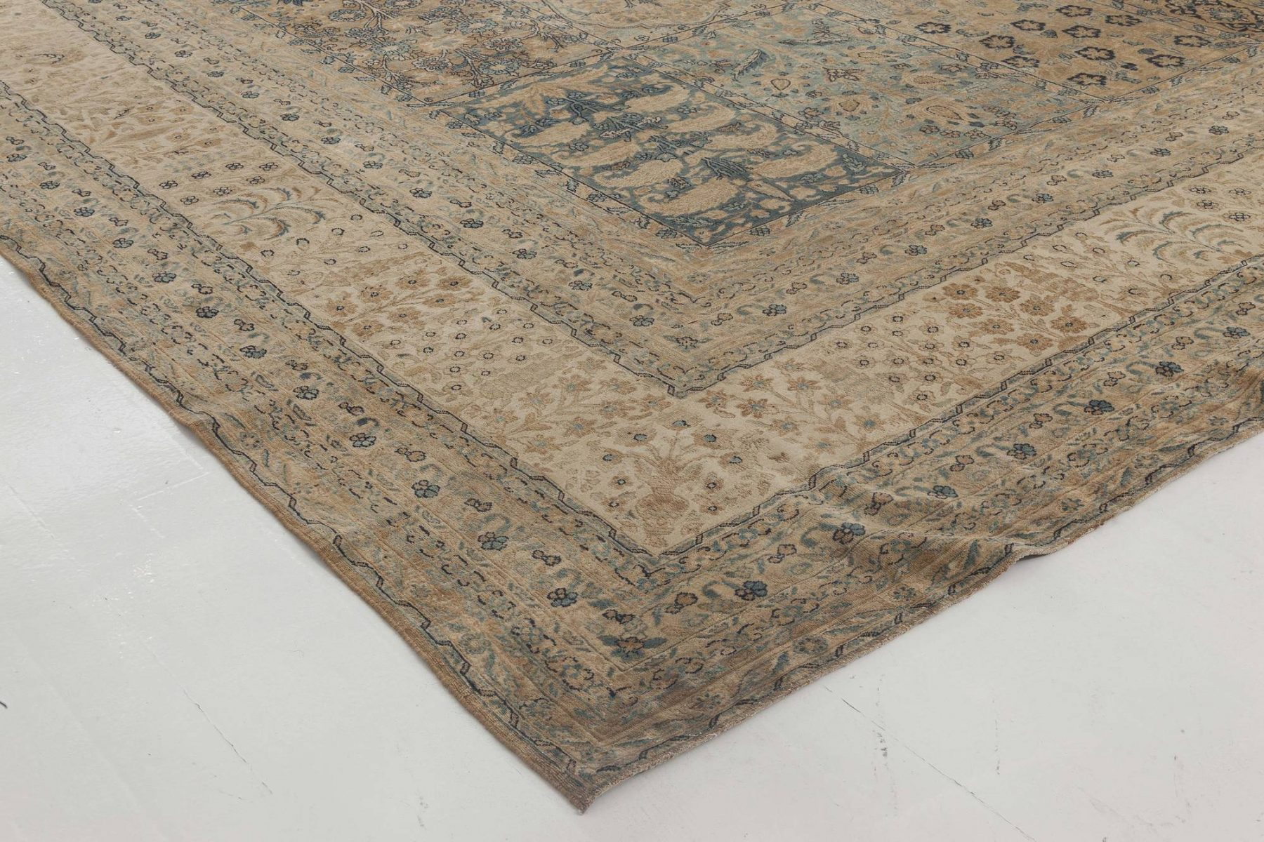 Camel and Pastel Blue Antique Persian Kirman Rug BB6407
