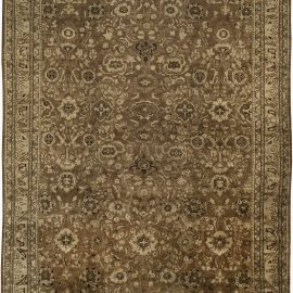 Antique Persian Malayer Brown Handwoven Wool Rug BB6393