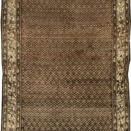 Persian Malayer Chocolate Brown and Sandy Beige Handcrafted Rug BB6417
