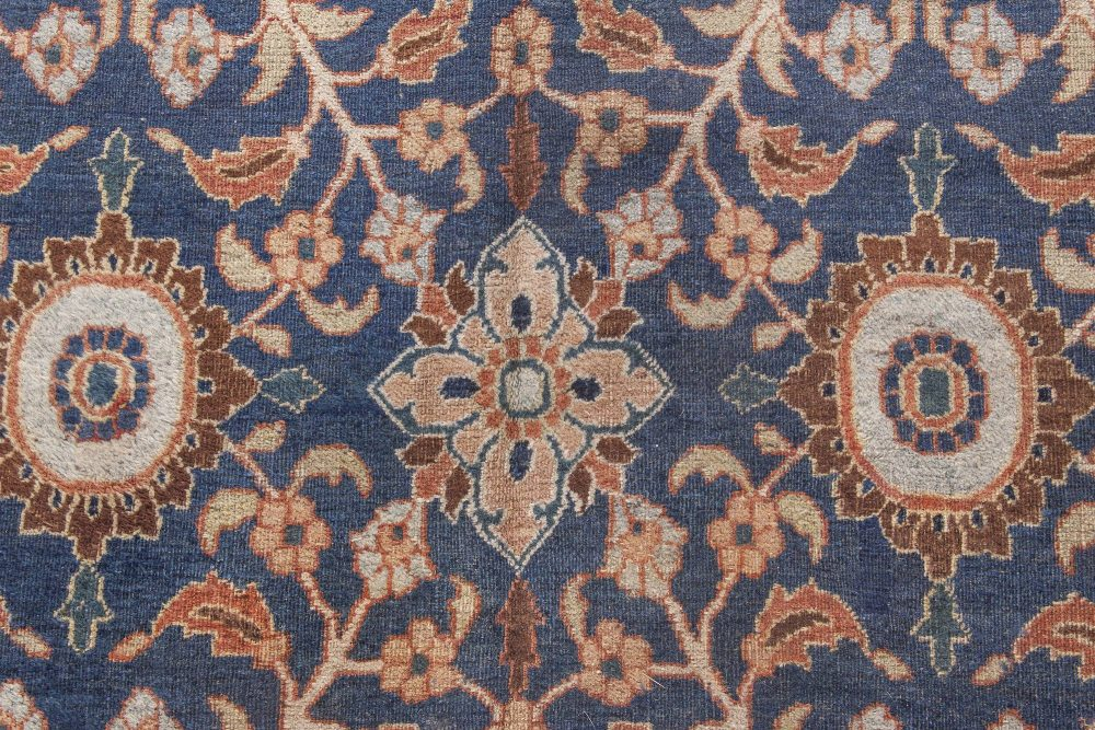 Antique Persian Meshad Caramel and Navy Blue Handwoven Wool Rug BB4486