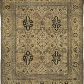 Neutral Brown Antique Persian Meshad Handwoven Wool Rug BB5111