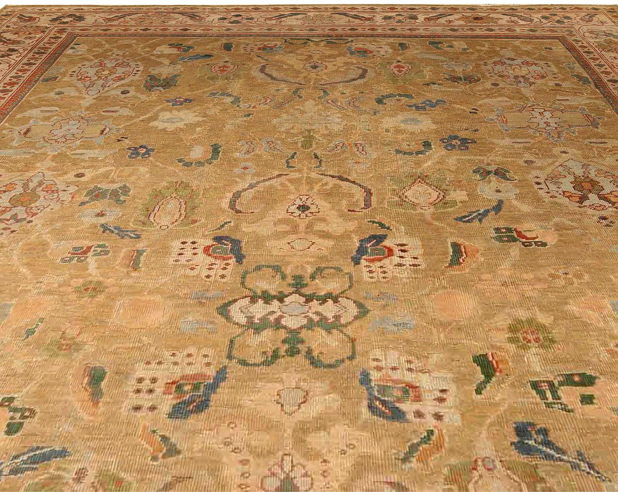 Antique Persian Sultanabad Beige Handwoven Wool Rug BB4057