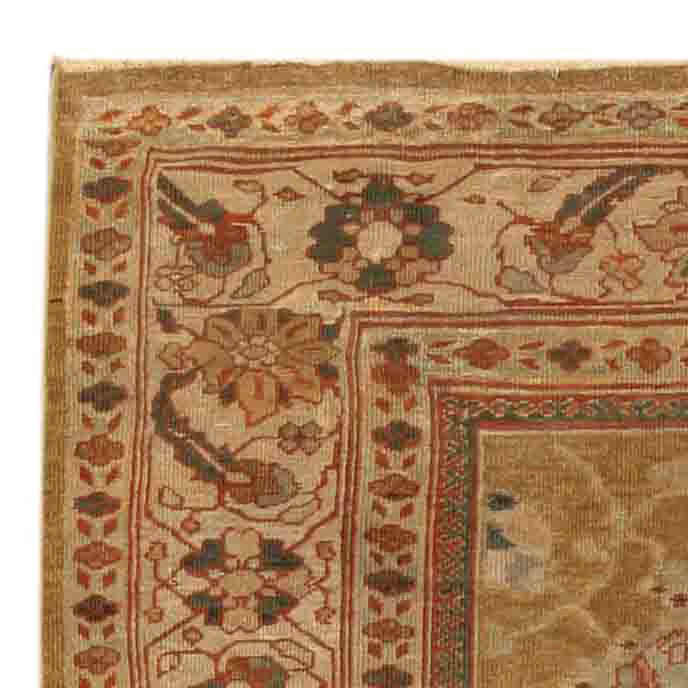 Antique Persian Sultanabad Beige Handwoven Wool Rug BB4057