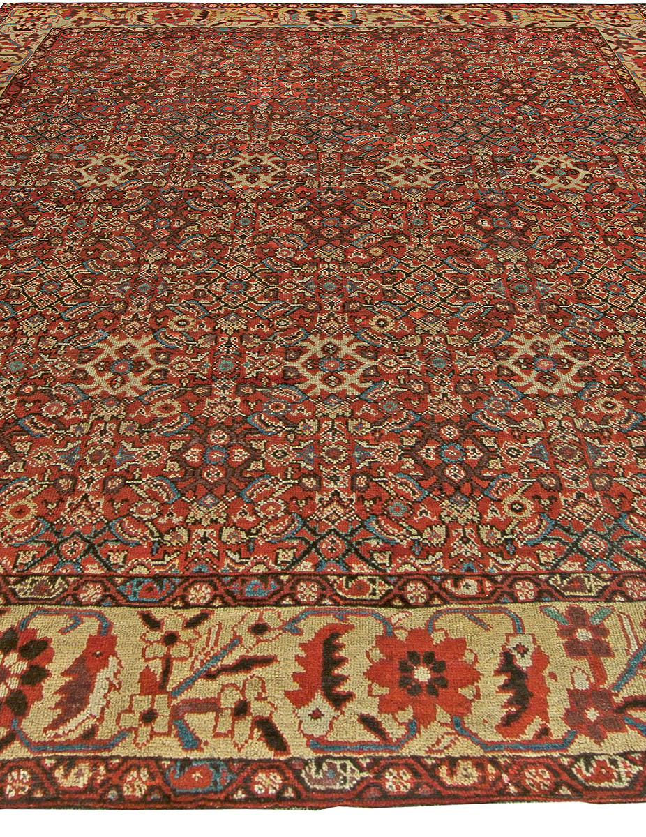 Persian Sultanabad Red, Indigo and Ivory Handwoven Wool Rug BB6029
