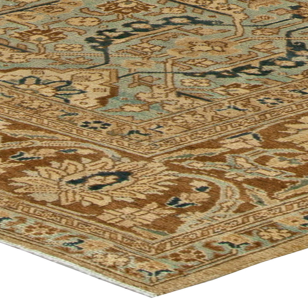Antique Persian Tabriz Beige and Blue Handwoven Wool Rug BB5970