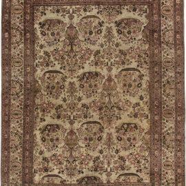 Antique Persian Tabriz Beige and Purple Handwoven Wool Rug BB6327