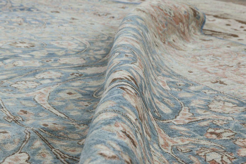 Antique Persian Tabriz Rust, Beige & Gray-Blue Handwoven Wool Carpet BB5737