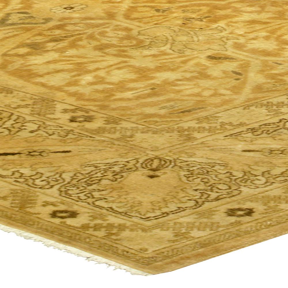 Antique Persian Tabriz Gold Yellow Handwoven Wool Rug BB5236