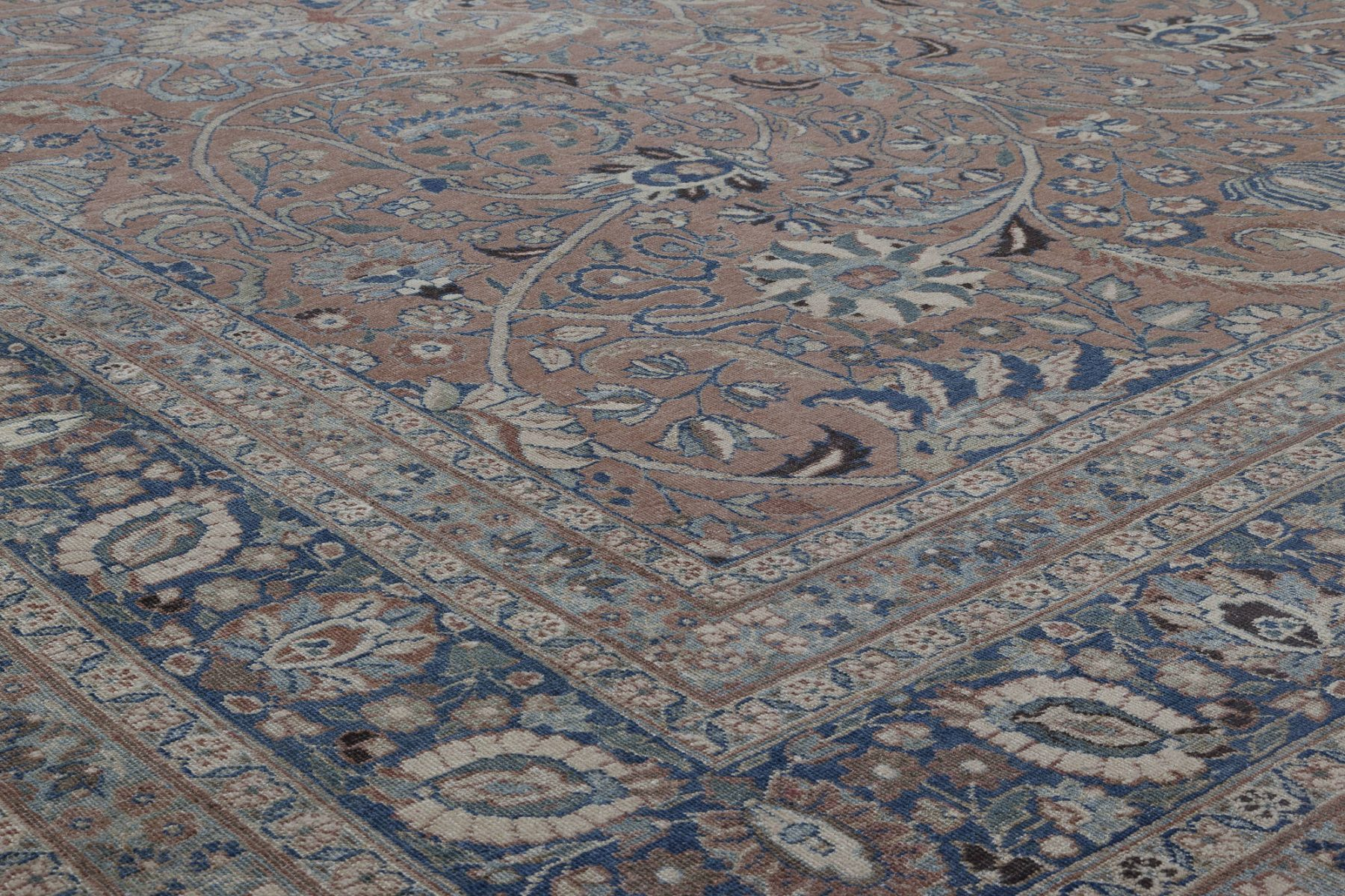 Antique Persian Tabriz Rust and Midnight Blue Handwoven Wool Rug BB4470