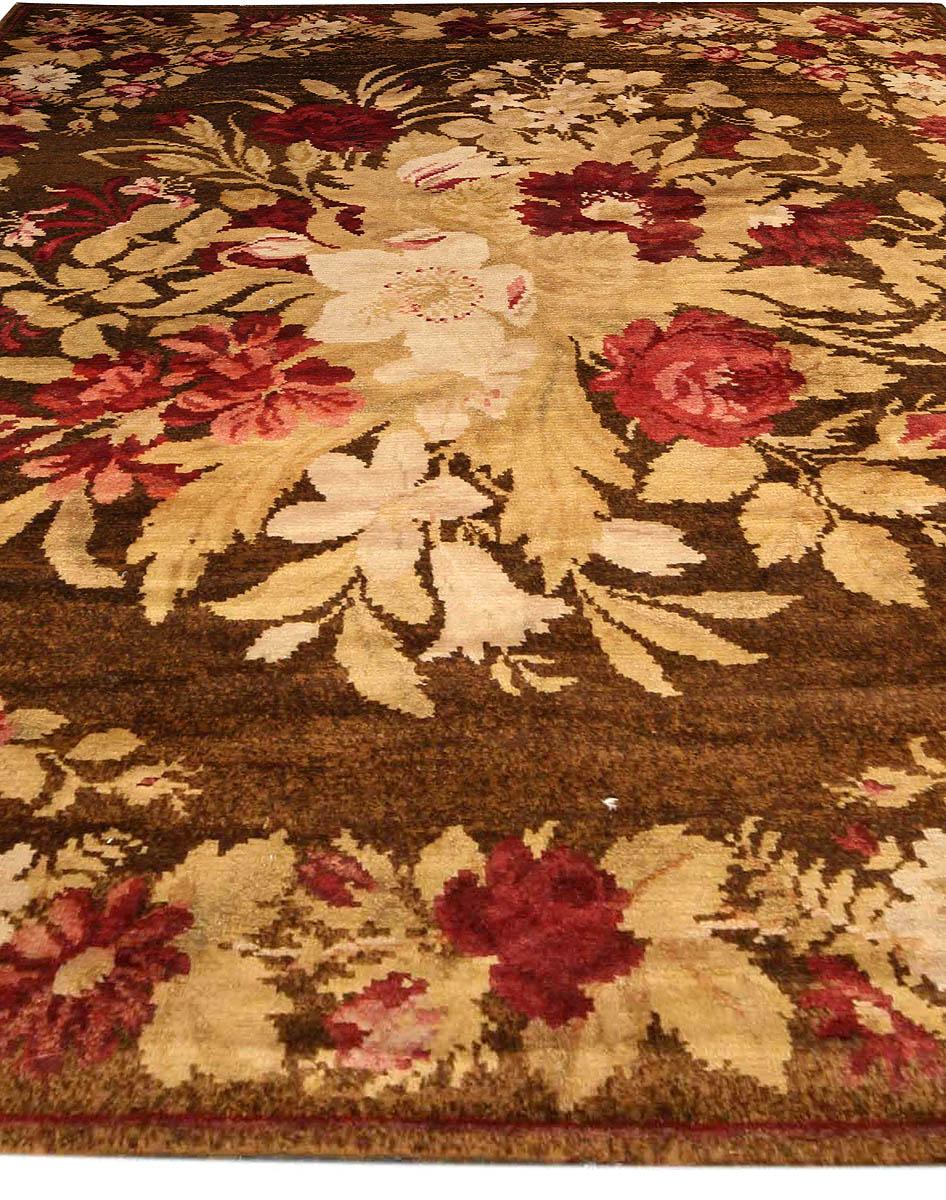 19th Century Ukrainian Floral Brown Handwoven Wool Rug BB3777