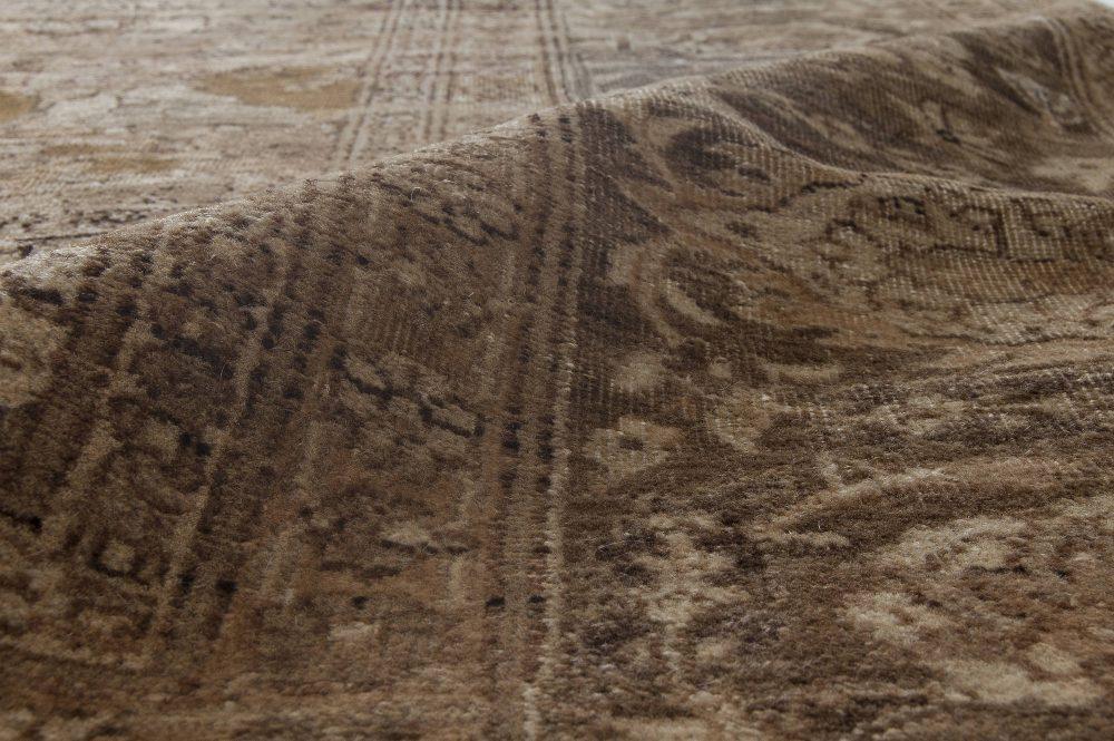 1900s Turkish Hereke Camel and Dark Brown Handmade Wool Carpet BB3845