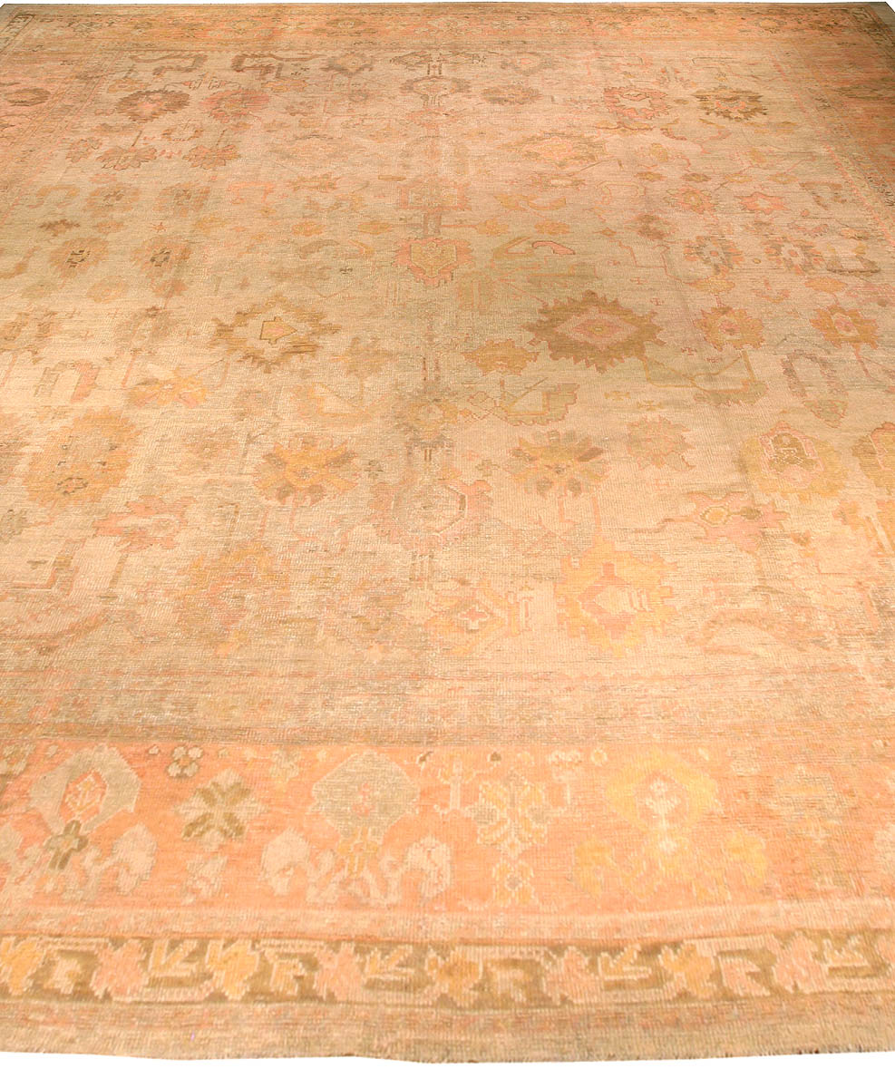 Large 19th Century Turkish Oushak Camel and Pale Salmon Handwoven Rug BB2656