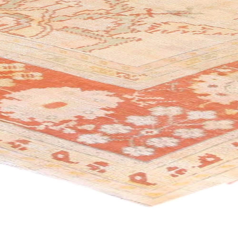 Antique Turkish Oushak Beige, Pastel Pink and Green Carpet BB3901