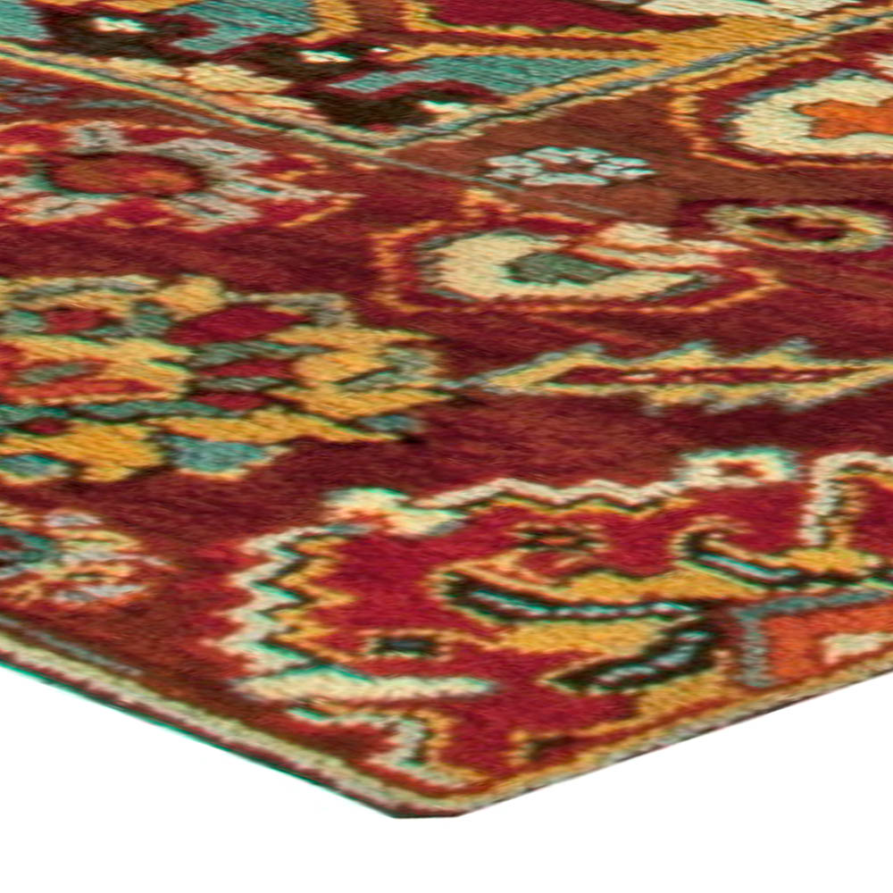 Antique Turkish Oushak Floral Yellow, Red, Blue and Green Rug BB6023