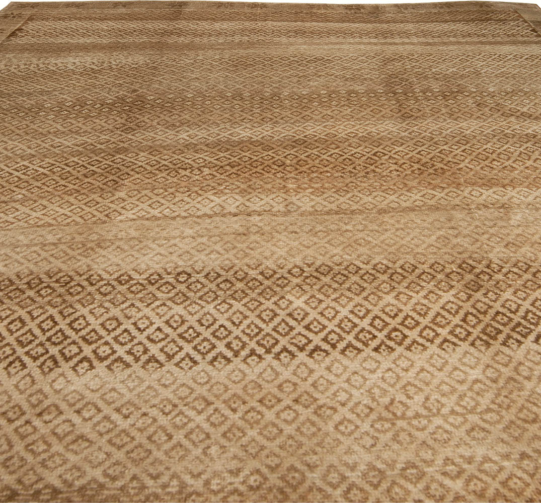 Antique Turkish Oushak Beige and Brown Handwoven Wool Rug BB5024