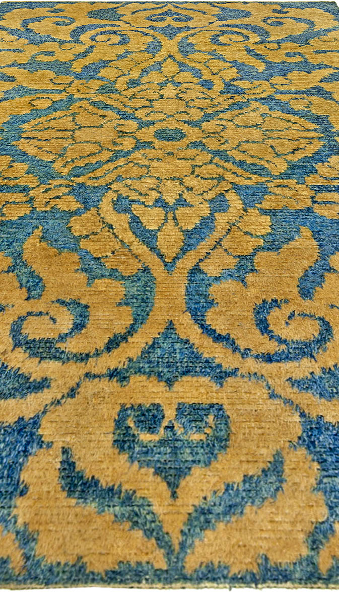 Midcentury Chinese Yellow and Blue Handwoven Wool Rug BB5238
