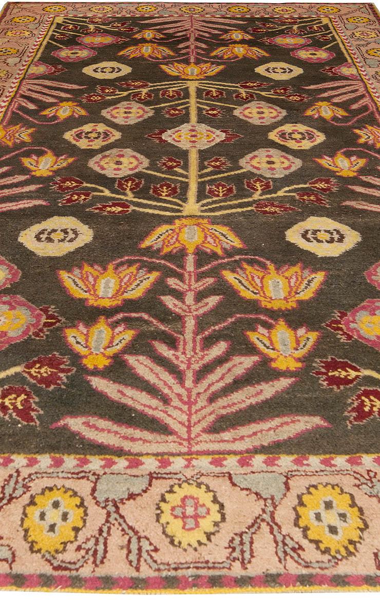 Indian Agra Pastel Violet, Beige, Yellow, Burgundy and Black Wool Rug BB4935