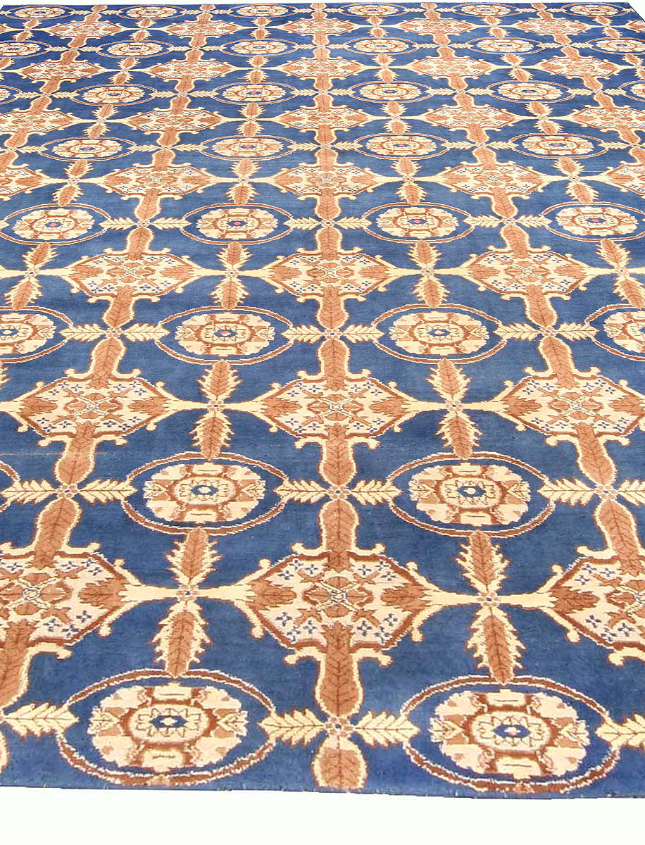 Midcentury Agra Cobalt Blue and Cinnamon Cotton Carpet BB3701