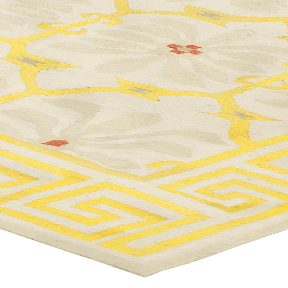 Indian Dhurrie Handmade Cotton Rug in Yellow, Beige and White Design BB5025