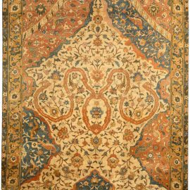 Antique Indian Blue, Yellow and Orange Handwoven Wool Carpet BB4166