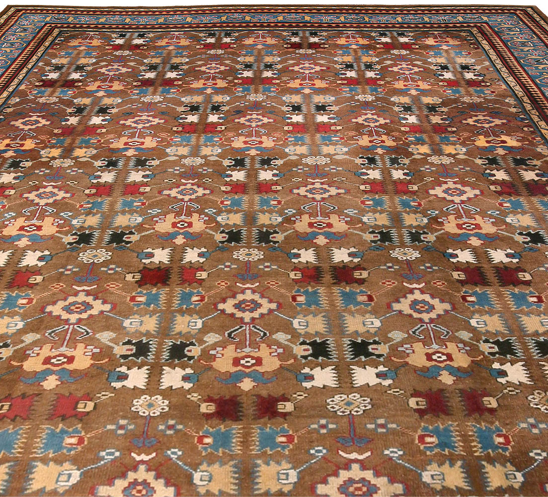 Early 20th Century Indian Sky Blue, Red, Brown and Beige Handwoven Rug BB0784