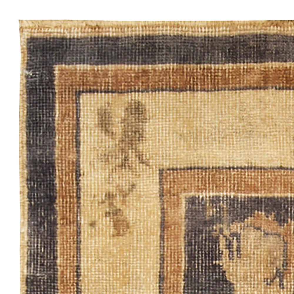 Midcentury Indian Brown and Beige Pashmina Wool Rug BB4912