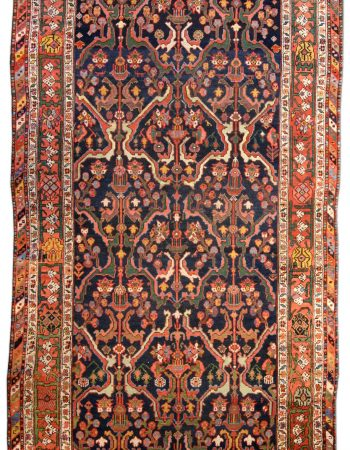 Persian Heriz Brown, Soft Blue and Ivory Handwoven Wool Rug BB7193