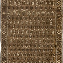 Antique Persian Heriz Ivory and Brown Handwoven Wool Rug BB2018