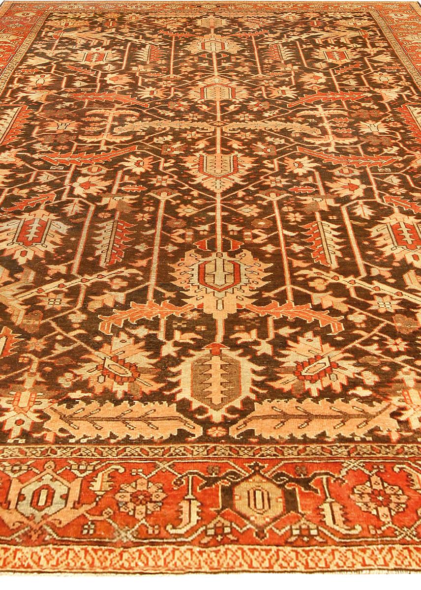 Antique Persian Heriz Brown Handwoven Wool Rug BB4542