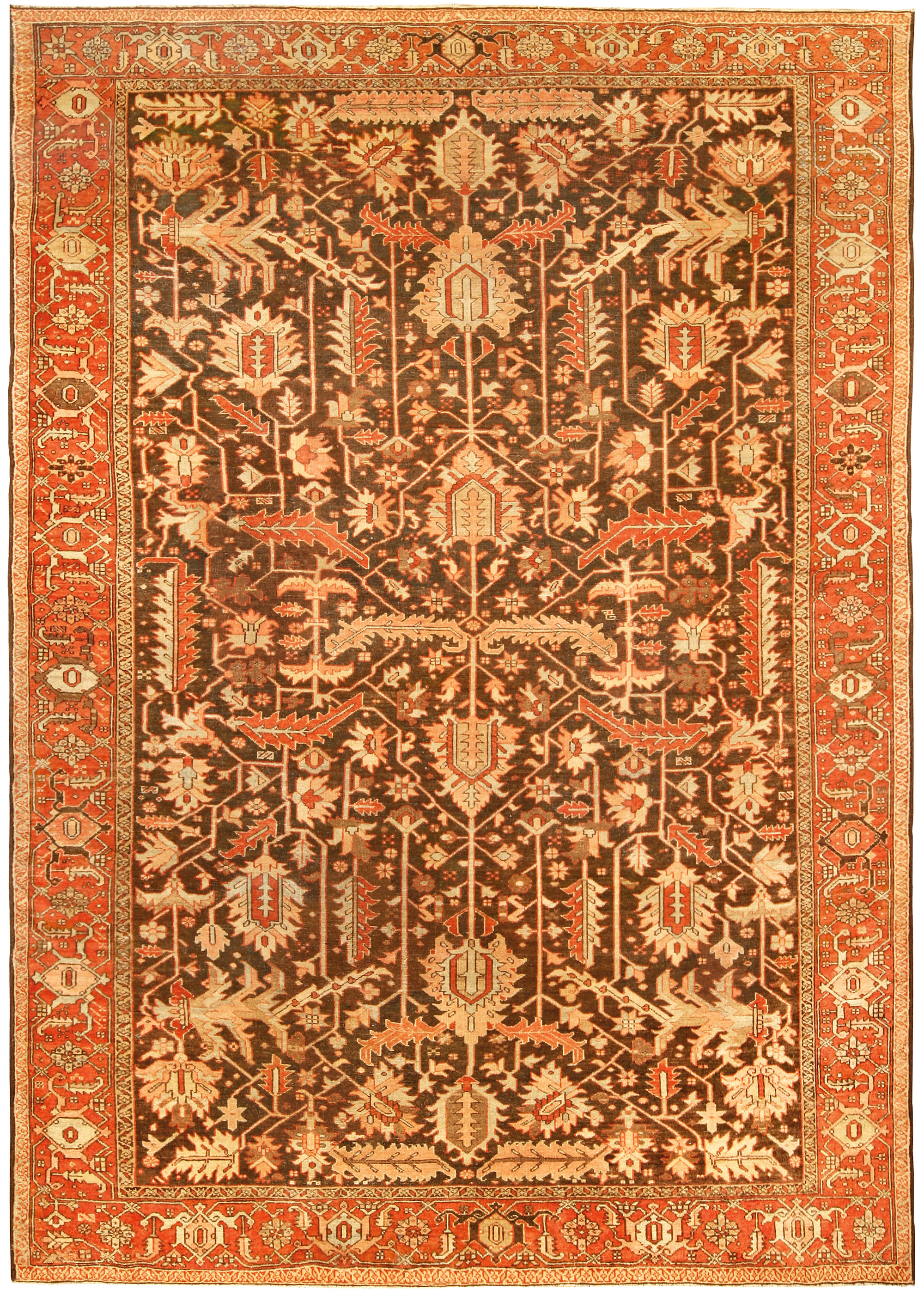 Persian Heriz Brown Handwoven Wool Rug