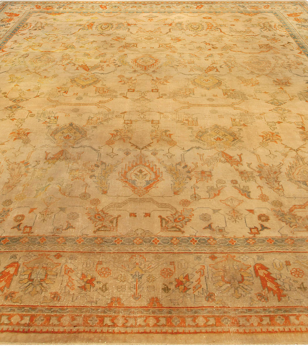 Turkish Oushak Light Tan, Orange & Soft Teal Blue Rug Size Adjusted BB5155