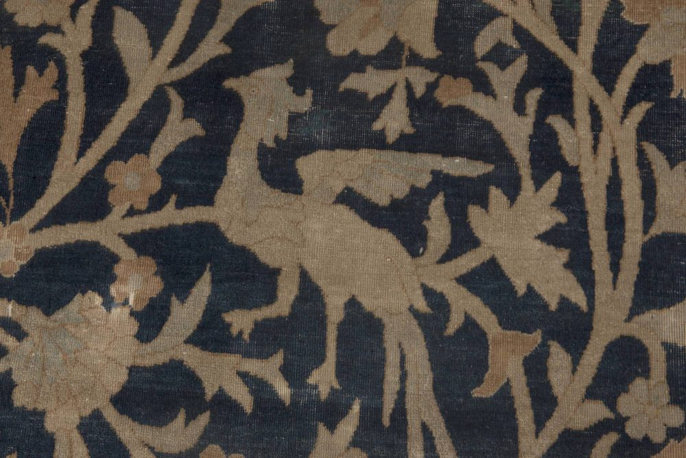 Antique Persian Kirman Beige, Brown and Midnight Blue Rug BB6089