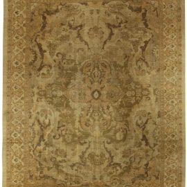 Antique Persian Sultanabad Beige and Brown Handwoven Wool Rug BB5317