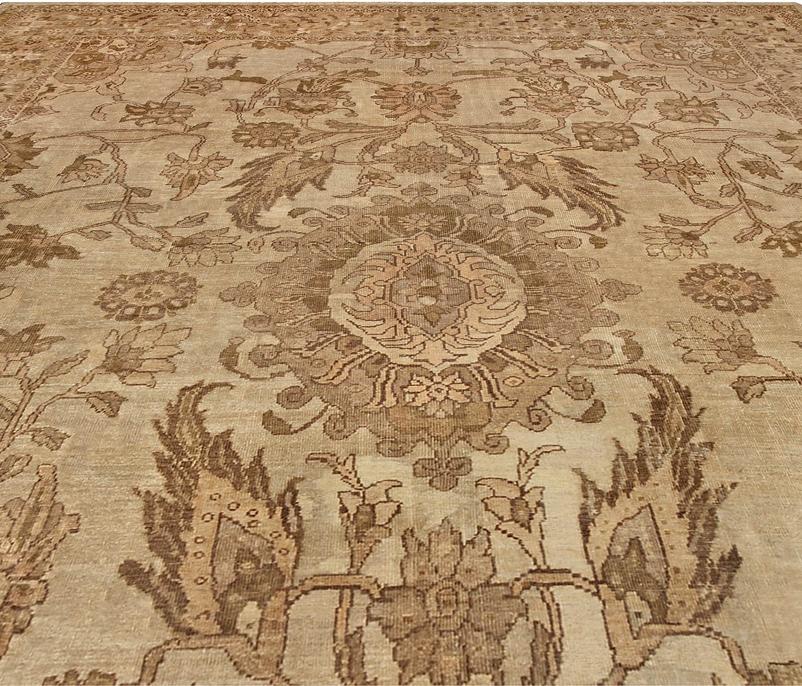 Antique Persian Sultanabad Tan, Taupe and Brown Handwoven Wool Rug BB4925