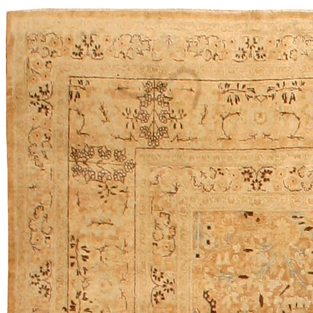 Camel Vintage Persian Tabriz Carpet BB4477