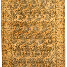 19th Century Persian Tabriz Honey Yellow and Black Handwoven Wool Rug BB4172