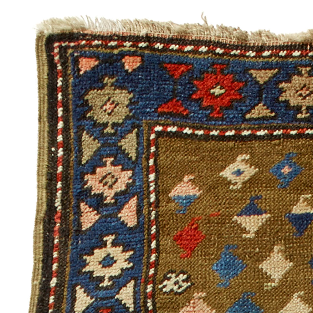 Karabagh Blue, Red, Green and Rosy Beige Hand Knotted Wool Runner BB4500