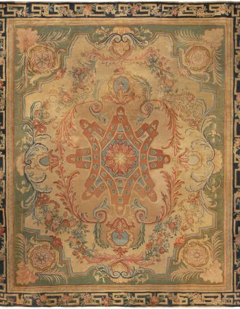 French Aubusson Brown Handwoven Wool (Size Adjusted) Rug BB5261
