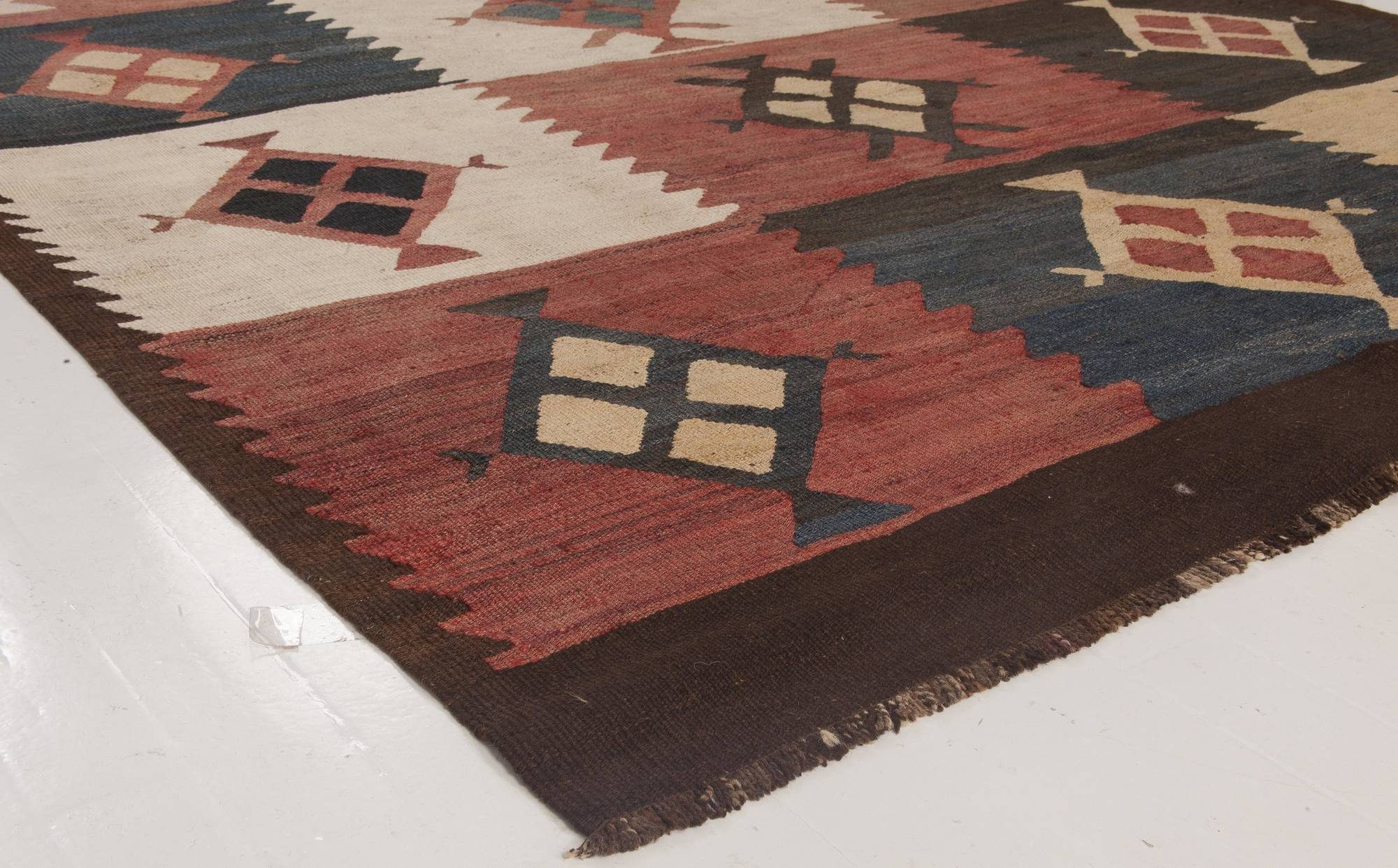 Antique Etno Turkish Kilim Rug in Warm Earthy Colors BB6520