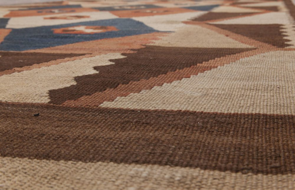 Vintage Etno Labijar in Earth Shades Hand Knotted Wool Rug BB6515